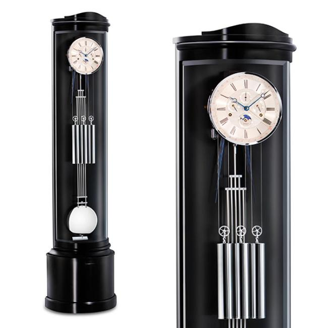 Kieninger floor clock handpolished black finish curved Westminster chime on 8-rod gong 0111-96-03