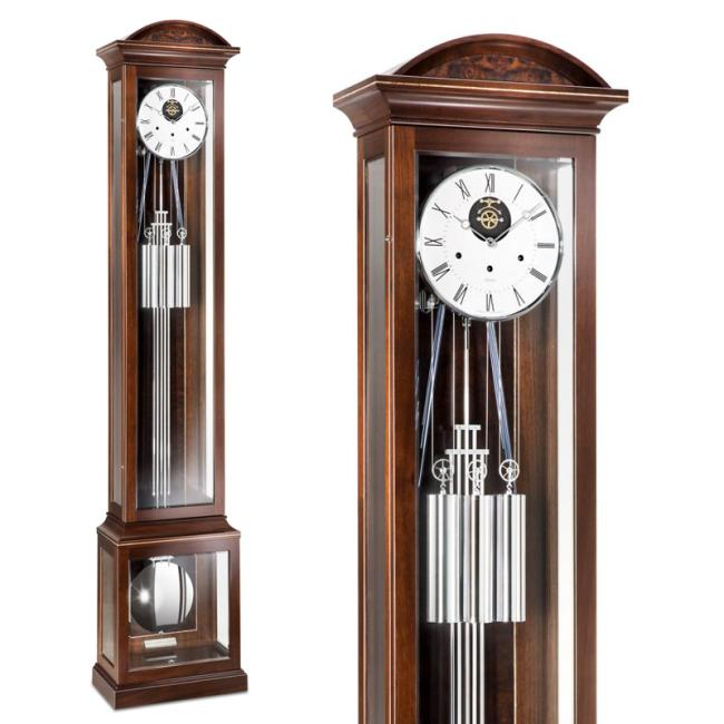 Kieninger flor clock walnut / chrom extended length pendulum clock open escapement 8-rod gong 0142-22-01