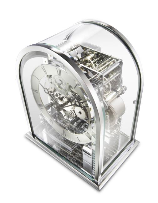 Kieninger modern chrome carriage clock with 3 melodies to 8 work-tunes sound bars 1226-02-04