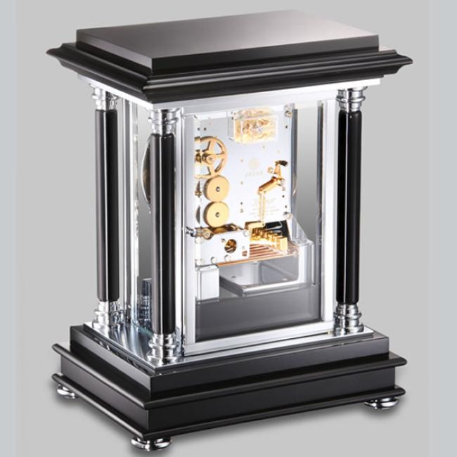 Kieninger mantel clock chrome plated solid brass case fine black lacquer finish triple chime on 8-rod gong 1246-96-02