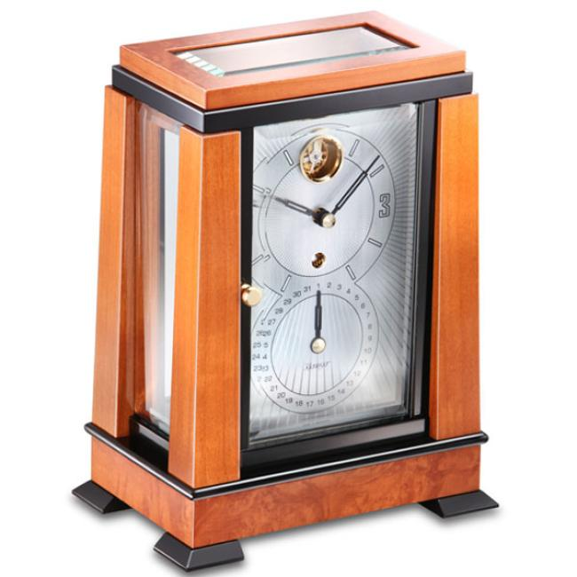 Kieninger mantel clock Art Deco style cherry finish dial with big date indication 1272-41-01