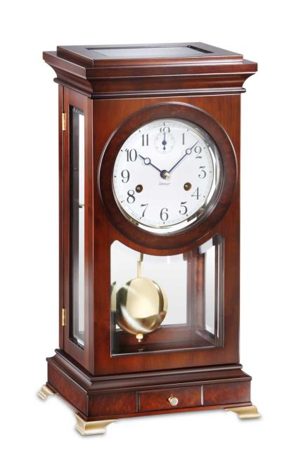 Kieninger Pendulum Table Clock walnut Bim-Bam strike on double bell 1276-22-01
