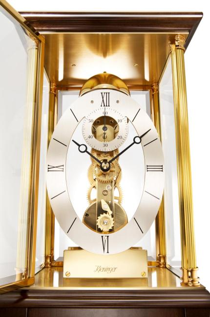 Kieninger fine skeleton mantel clock walnut passing strike 1278-23-01