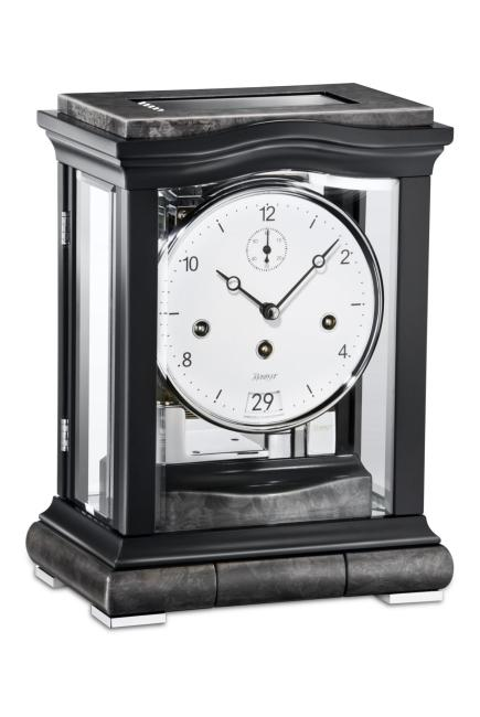 Kieninger elegant mantel clock big date black triple chime on 8-rod gong 1293-96-01