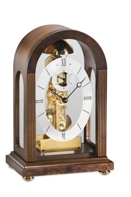 Kieninger small mantel clock round top walnut passing strike 1300-23-01