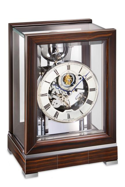 Kieninger contemporary tourbillon mantel clock ebony triple chime 1713-57-01