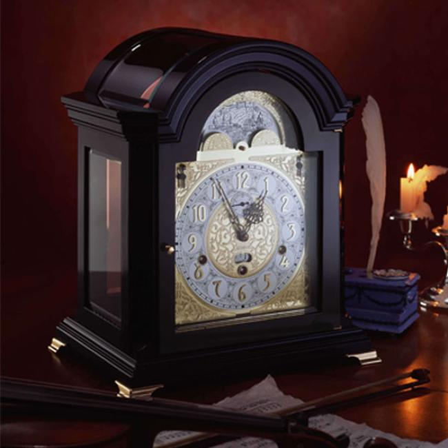 Kieninger mantel clock Mozart black case triple chime on 9-bell chime moon dial 1756-96-01