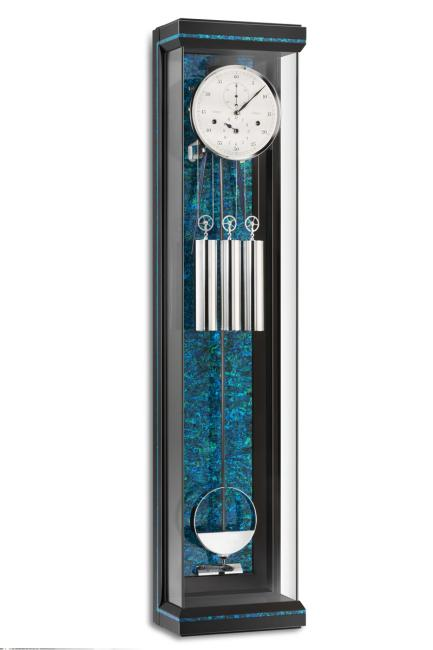 Kieninger extravagant clock satin black piano finish / blue genuine mother of pearl cathedral strike 2566-98-01