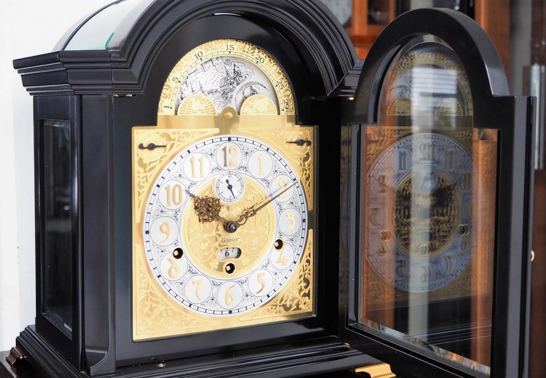 Kieninger uhrenshop kieninger mantel clock mozart walnut case kieninger mantel clock mozart black case triple chime on 9 bell chime moon dial 1756 amipublicfo Images
