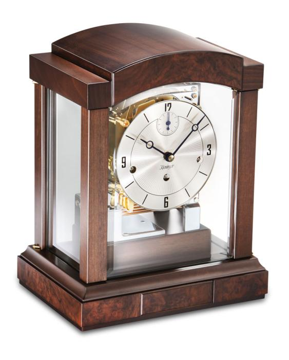 Kieninger mantel clock walnut silver dial triple chime 1242-22-03