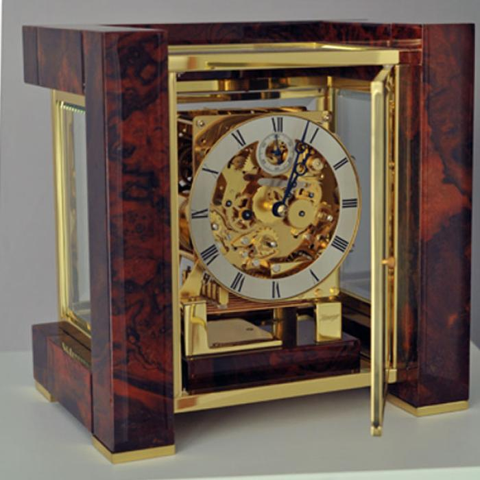 Kieninger clock design-cube brass/walnut triple chime on 8-rod gong 1266-82-01