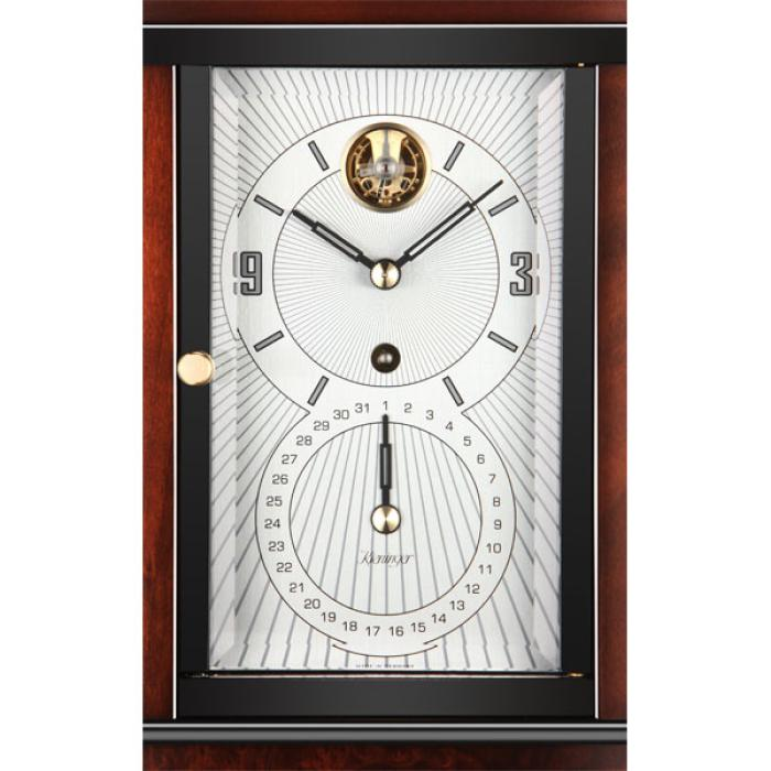 Kieninger mantel clock Art Deco style dark walnut finish dial with big date indication 1272-23-01