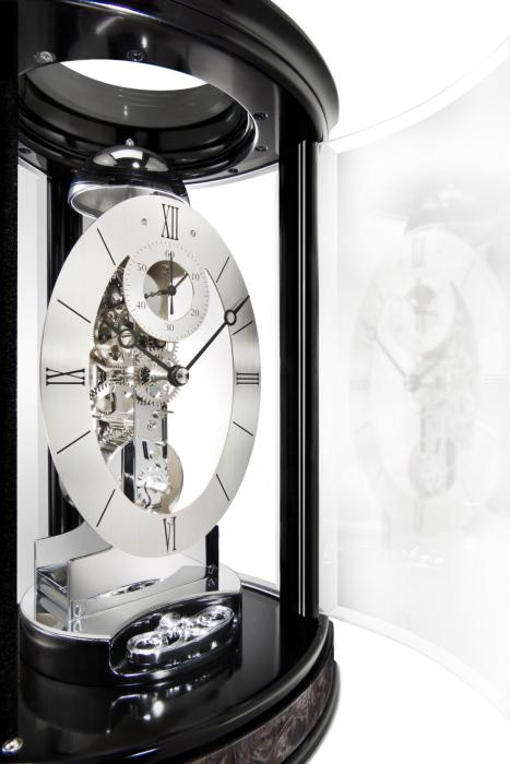 Kieninger modern skeleton clock black passing strike Trigon 1289-96-01