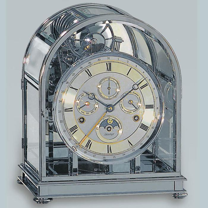 Kieninger majestic solid brass chrome plated mantel clock triple chime on 9-bell chime 1709-02-02