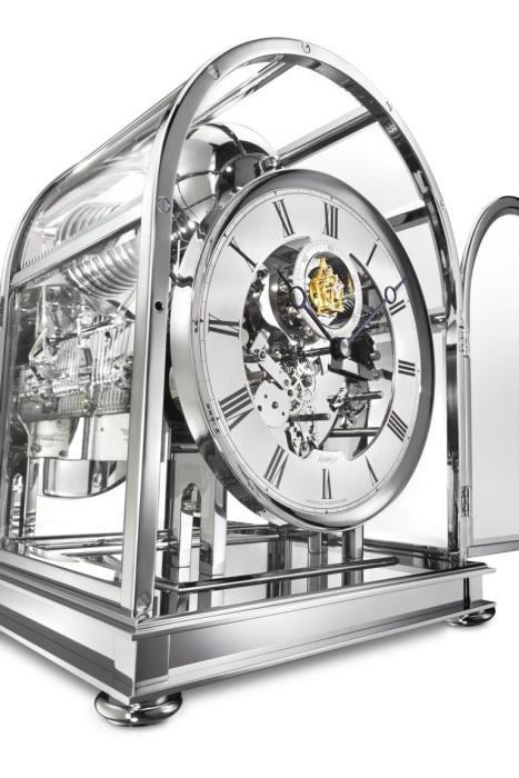 Kieninger majestic solid brass chrome plated mantel clock triple chime on 9-bell chime tourbillon  1709-02-03