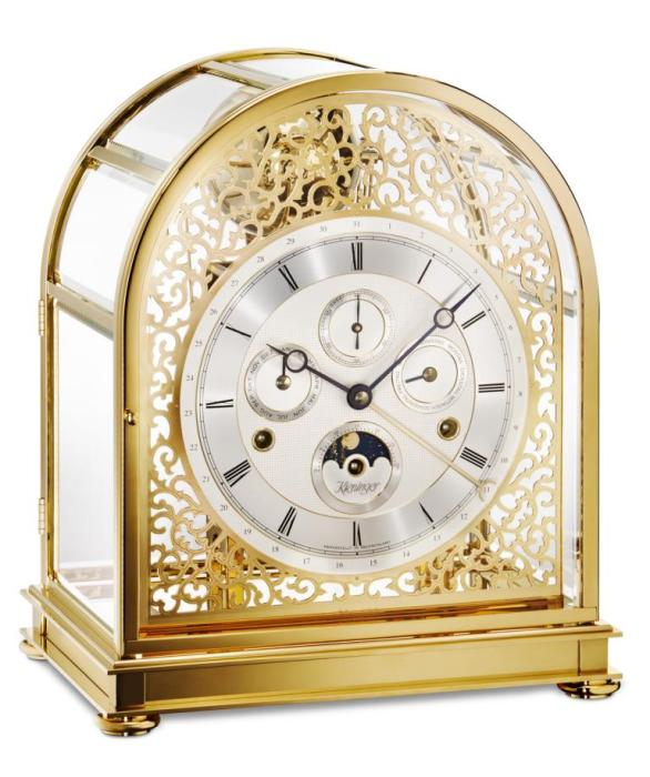 Kieninger majestic solid brass mantel clock 24 carat gold plated triple chime on 9-bell chime 1709-06-01