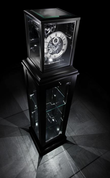 Kieninger unique showcase clock fine black lacquer finish triple chime on 9-bell chime 1712-96-02