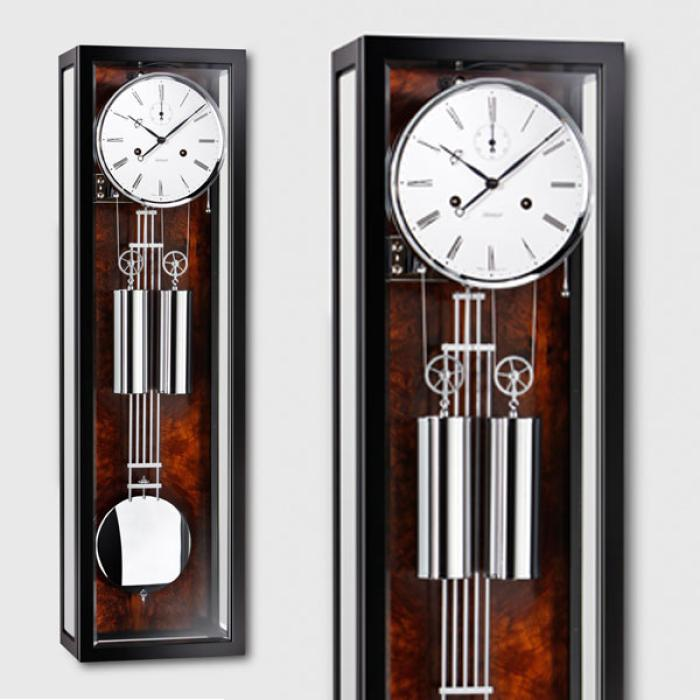 Kieninger regulator harmony chrome fine black lacquer finish walnut burl coiled gong one month runtime 2518-92-03