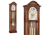 Kieninger floor clock small narrow walnut Westminster chime on 8-rod gong 0143-23-01